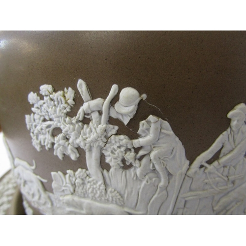 40 - VICTORIAN STONEWARE STILTON DISH, brown stoneware cheese dome and plate decorated with hunting scene