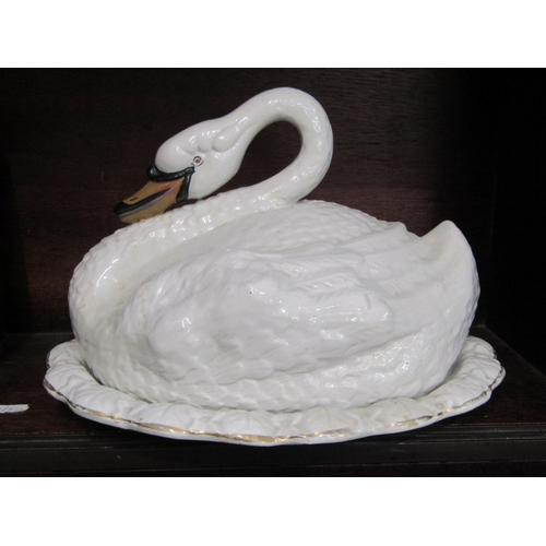 41 - SWAN TUREEN, Victorian pottery tureen moulded as resting Swan, 85