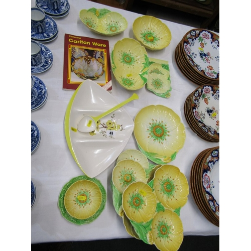 43 - CARLTON, collection of mainly yellow Buttercup tableware, including retro hor d'oeuvres dish and Car...