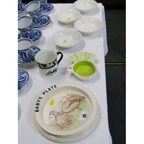 45 - CARLTON, baby plate and nursery mug, also retro bird design sweetmeat dish and 4 mask bowls