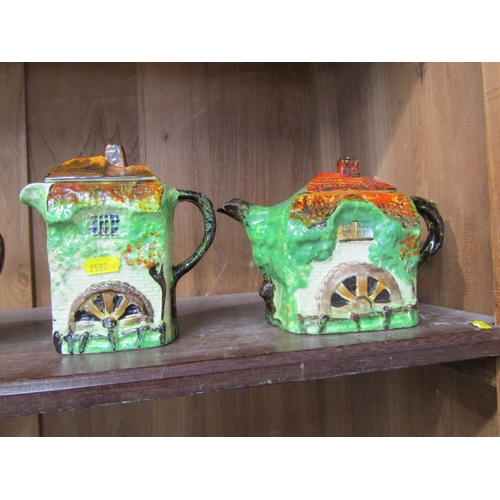 46 - COTTAGE DESIGN TEAWARE, Watermill design tea pot, water jug and 2 similar