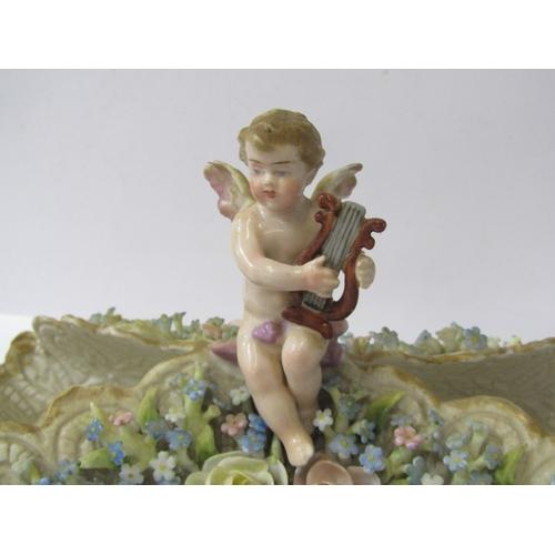 5 - 19th CENTURY CONTINENTAL PORCELAIN, floral encrusted Cherub Lyre musician crested flower holder, 10