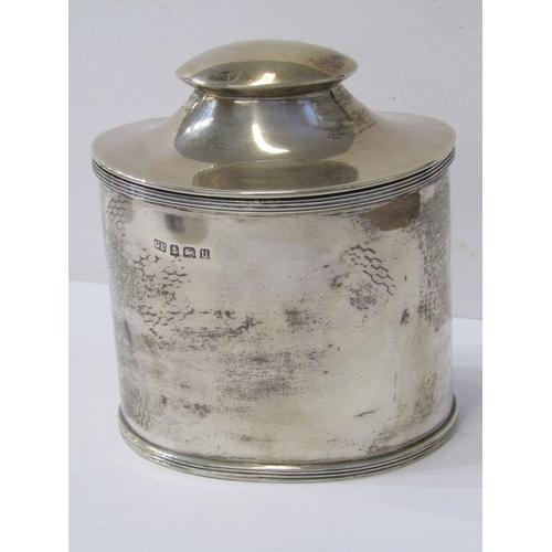 502 - SILVER TEA CADDY, HM silver oval bodied tea caddy, Birmingham 1919, maker GU, 230 grams