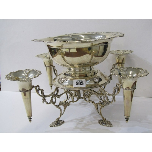 505 - ELKINGTON SILVER CENTREPIECE, 4 branch support for pierced edge circular bowl and 4 epergne flutes, ...