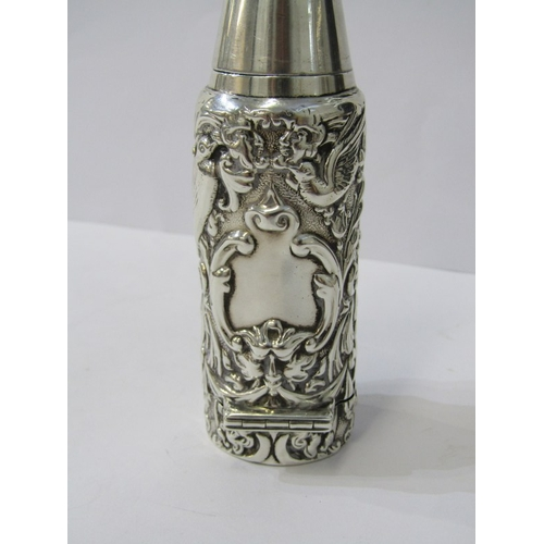 507 - VICTORIAN SILVER SHAVING BRUSH, screw fitted detachable brush and ornate foliate and bird embossed d...