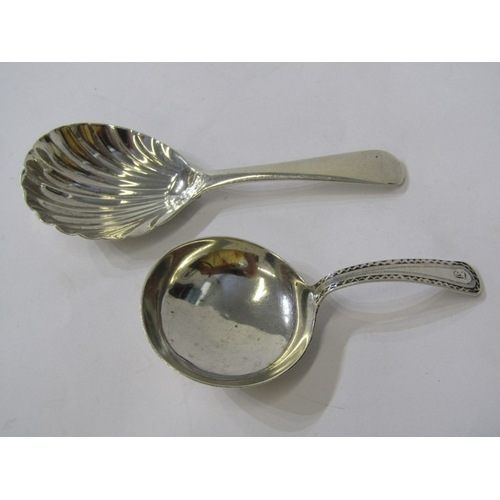 508 - ANTIQUE SILVER CADDY SPOONS, Georgian bright cut handled caddy spoon and Old English pattern shell b...