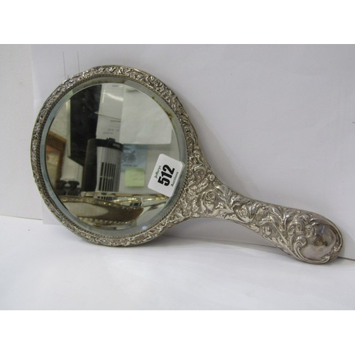 512 - SILVER EMBOSSED HAND MIRROR, ornate foliate and cherub design hand mirror, Birmingham 1912