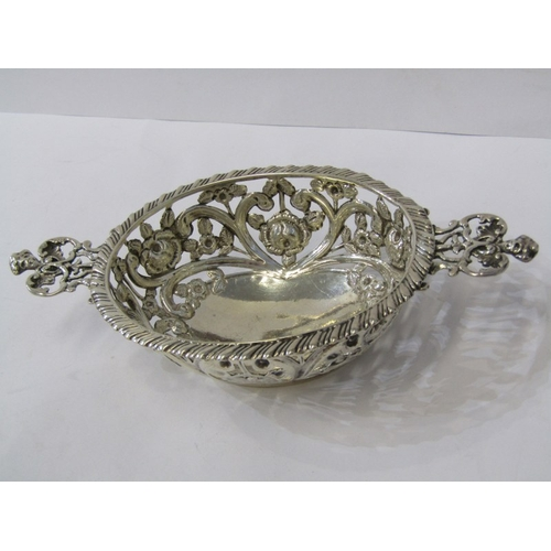 518 - VICTORIAN SILVER SWEETMEAT DISH, attractive floral decorated pierced body twin handled dish, Birming...