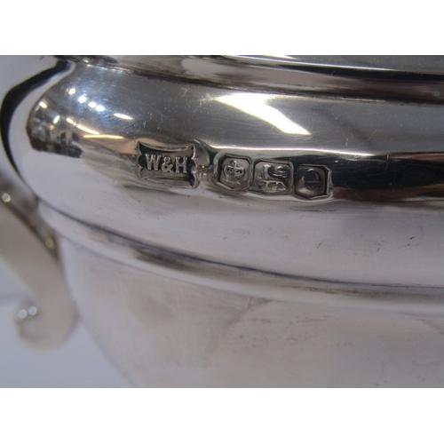520 - WALKER & HALL SILVER 3 PIECE TEA SERVICE, Regency design rectangular bodied tea service with ebonise...