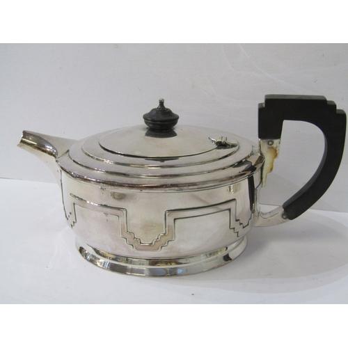 523 - WALKER & HALL TEA SERVICE, Art Deco design 3 piece silver tea service with stylised banded decoratio...