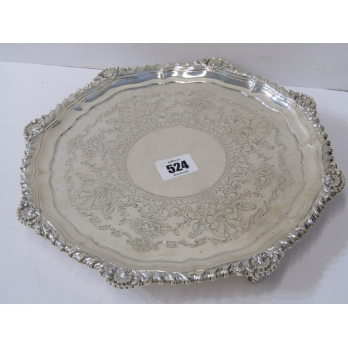524 - EDWARDIAN SILVER SALVER, attractive floral and fruit engraved centre with fluted octagonal edge, Lon...