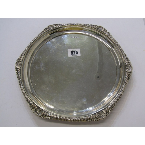 525 - VICTORIAN SILVER SALVER, fluted and shell edge circular salver, Sheffield 1894, maker HA. 570 grams