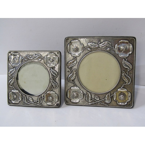 528 - ART NOUVEAU PHOTO FRAMES, 2 graduated Poppy design silver square photo frames with easel support, 6