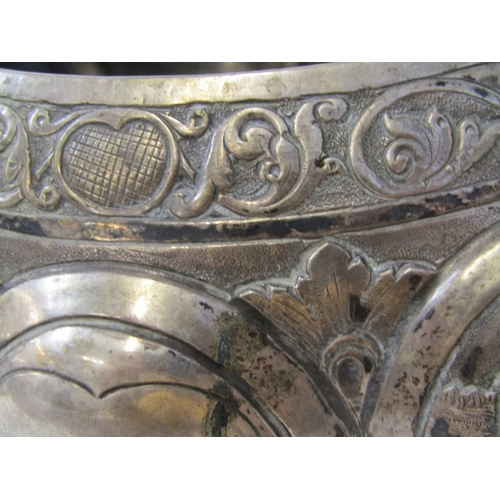 529 - EASTERN SILVER BOWL, possibly Burmese silver circular fluted edge fruit bowl,  with embossed village...