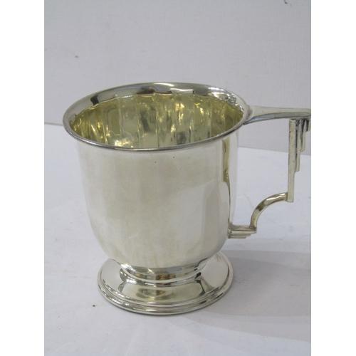 531 - SILVER CHRISTENING MUG, Birmingham 1938, 94 grams, also Walker & Hall plated pint tankard