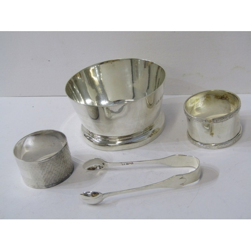 532 - SILVER SUGAR BOWL, 2 silver serviette rings and sugar tongs, total weight 220 grams