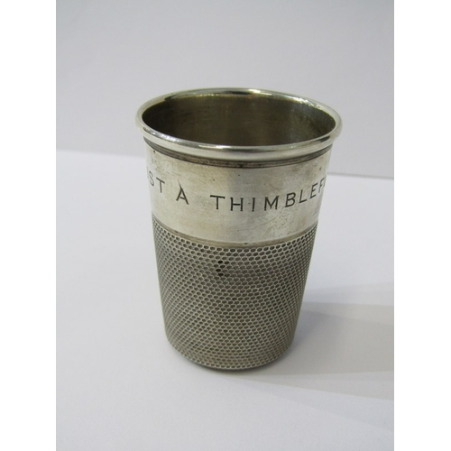 533 - NOVELTY SILVER LARGE THIMBLE, also Victorian silver embossed sweetmeat dish and set of 6 coffee bean...