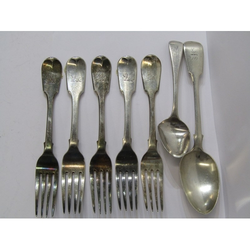 534 - SILVER CUTLERY, collection of early 19th Century fiddle pattern and other tableware, including 5 din...