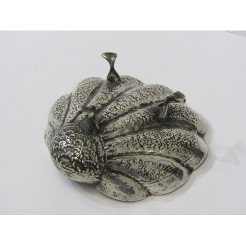 535 - EASTERN SILVER SHELL DISH, sweetmeat dish in shape of a shell on 3 claw feet, 63 grams