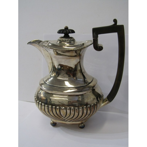536 - GEORGIAN DESIGN HM SILVER HOT WATER JUG with fluted rectangular base, Birmingham possibly 1904, 592 ...