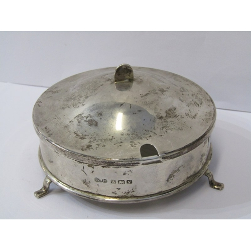 540 - SILVER LIDDED BUTTER DISH of circular form, with opaque glass liner, Birmingham HM, 9.5cm dia, 97 gr...