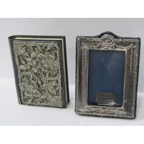 543 - MINIATURE SILVER PHOTO FRAME, easel photo frame rectangular form, 9cm, also a silver