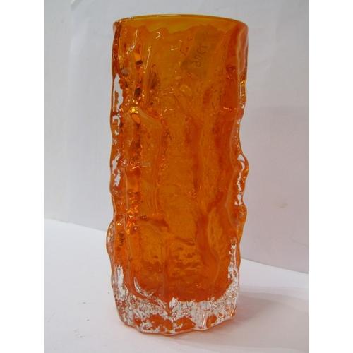 57 - WHITEFRIARS, orange sculptured cylindrical vase, 6
