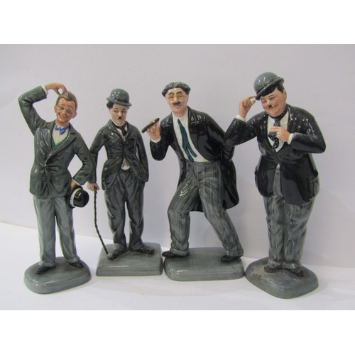 6 - LAUREL & HARDY, pair of Royal Doulton limited edition figures with similar figures for Groucho Marx ...