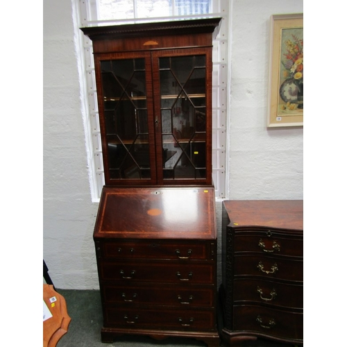 652 - SHERATON REVIVAL BUREAU BOOKCASE, satinwood inlaid mahogany narrow bureau bookcase, 29