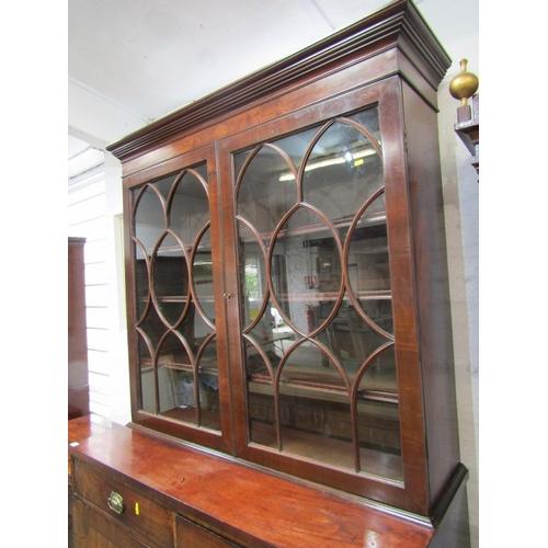 654 - LATE GEORGIAN  CUPBOARD BASE BOOKCASE, inlaid mahogany twin cupboard base 2 frieze drawers and glaze...