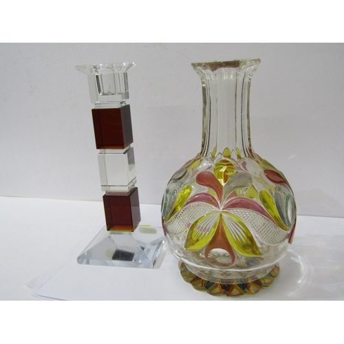 73 - ANTIQUE GLASSWARE, 19th Century enamelled glass carafe and Art Deco cut glass square base candlestic...