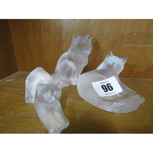 96 - LALIQUE, 3 frosted glass Cats, max width 3.5