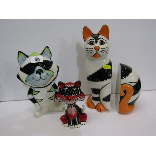 99 - LORNA BAILEY, pair of Cat bookends and 2 other comical Cat figures