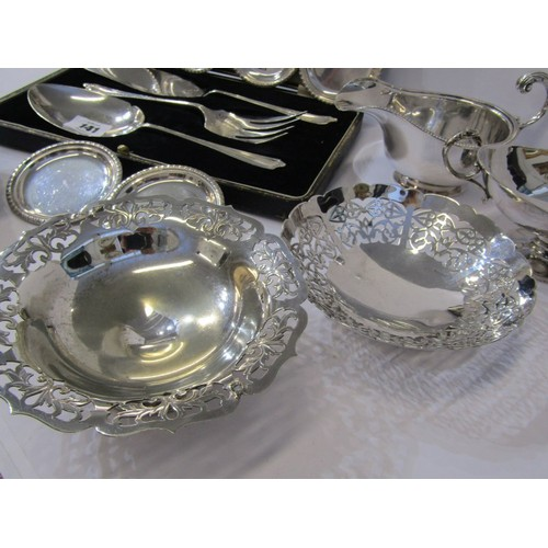 141 - SILVER PLATE, A boxed plated 3 piece serving set, gravy boat, bon-bon dishes and decanter labels etc