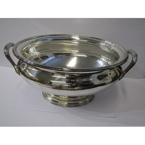 143 - QUALITY SILVER PLATED TUREENS, A Barker Brothers stemmed oval twin handled tureen with lid, 14