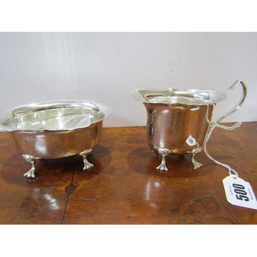 500 - SILVER CREAM JUG & SUGAR, the milk jug on 4 hoofed feet by Elkington & Co, Birmingham, together with...