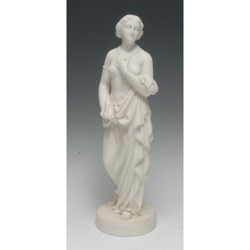 20 - A Belleek Parian figure, Affection, she stands scantily draped, holding her necklace, circular base,...