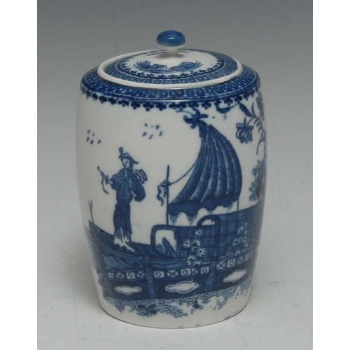 22 - A Caughley Fisherman and Cormorant pattern barrel-shaped tea canister and cover, printed in undergla...