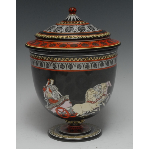 24 - A Copeland Etruscan Revival urn and cover, painted with Classical figures in a chariot, a musical tr...
