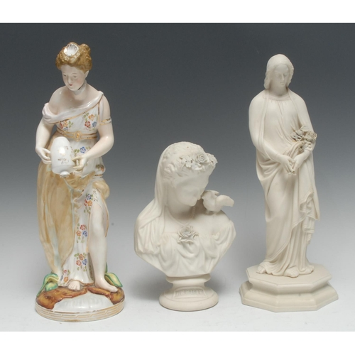 25 - A John Bevington Meissen style figure, of a lady standing with upturned vase, her dress with stylise...
