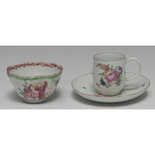 26 - A Longton Hall coffee cup and saucer, of small proportions, painted with scattered flowers in polych...