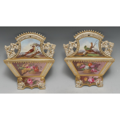 33 - A pair of  English porcelain wall pocket, attributed to Spode, finely painted with a basket of flowe...