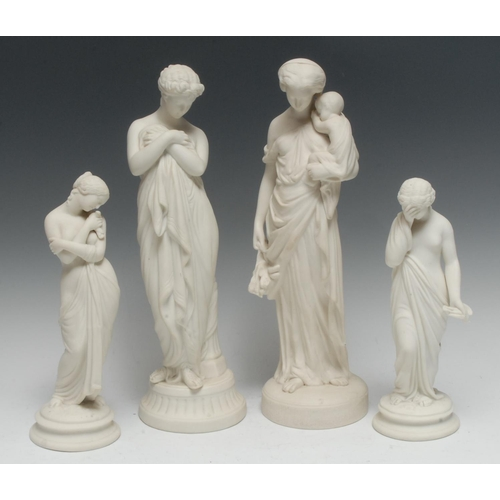 36 - A pair of Parian figures, Sorrow and Joy, the classical maidens stands, semi-nude, one with her face...