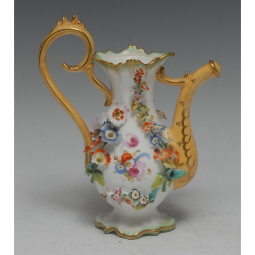 38 - A Rockingham type novelty miniature coffee pot, encrusted with flowers, 16cm high, c.1860...