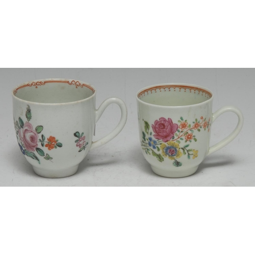 53 - A Liverpool Chaffers factory coffee cup, painted in polychrome with delicate floral sprays, c.1770; ...