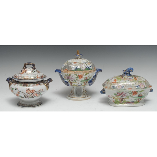 8 - A Mason Ironstone lobed pedestal tureen and cover, printed with stylised flowers, shell handles, flo...