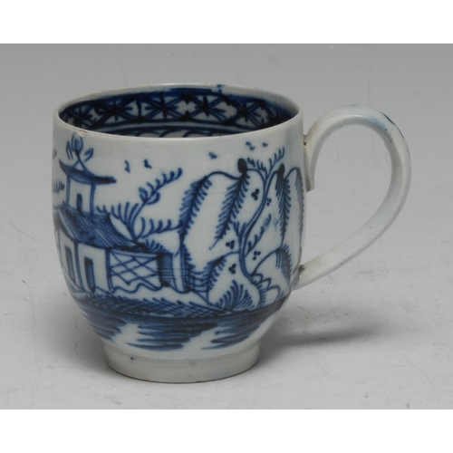 9 - A Liverpool Pearlware bell-shaped coffee cup, painted in underglaze blue with a Chinoiserie landscap...