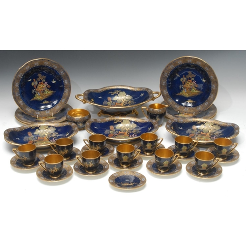 16 - A Carlton Ware Chinoiserie pattern tea and dessert service, comprising eleven cups, twelve saucers, ...