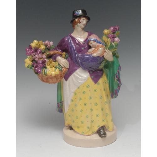 17 - A Charles Vyse figure, Tulip Women, 27cm high, painted monogram, CHELSEA, 1921...