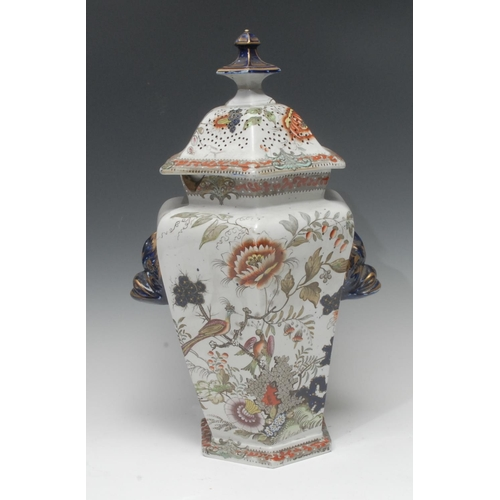 20 - A large Mason Ironstone hexagonal pot pourri vase and cover, decorated in the Imari palette with bir...
